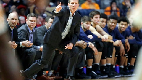 FILE - In this Dec. 18, 2016, file photo, Gonzaga head coach Mark Few directs his team in the first half of an NCAA college basketball game against Tennessee in Nashville, Tenn. If there is a single word that sums up No. 1 Gonzaga this season, it is maturity. Coach Few and his players talk often about the poise of this year's Zags, who have blown out many of their opponents and are on pace to finish the regular season undefeated.  (AP Photo/Mark Humphrey, File)