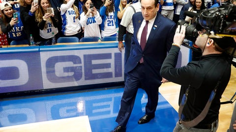 FILE - In this Saturday, Feb. 4, 2017, file photo, Duke head coach Mike Krzyzewski walks on to the court before an NCAA college basketball game against Pittsburgh in Durham, N.C. The drama seems to have finally stopped for No. 18 Duke. Maybe the struggles have, too, and that would be a critical step forward with top rival North Carolina up next.  (AP Photo/Karl B DeBlaker, File)
