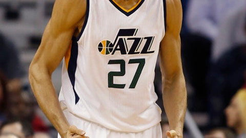 Utah Jazz center Rudy Gobert reacts after a play against the New Orleans Pelicans during the first half of an NBA basketball game in New Orleans, Wednesday, Feb. 8, 2017. (AP Photo/Max Becherer)