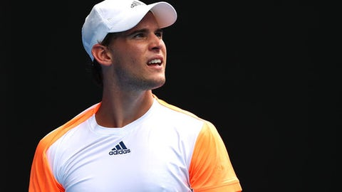 MELBOURNE, AUSTRALIA - JANUARY 23:  Dominic Thiem of Austria looks on in his fourth round match against David Goffin of Belgium on day eight of the 2017 Australian Open at Melbourne Park on January 23, 2017 in Melbourne, Australia.  (Photo by Cameron Spencer/Getty Images)