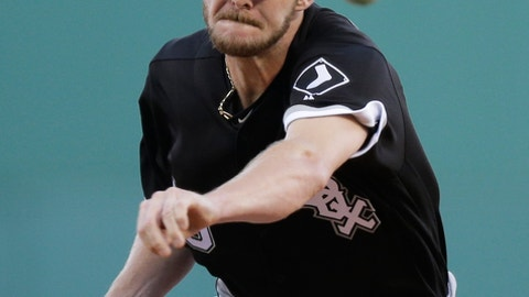 FILE - In tis June 21, 2016, file photo, Chicago White Sox starting pitcher Chris Sale delivers during a baseball game at Fenway Park in Boston. Boston Red Sox president of baseball operations Dave Dombrowski acquired Sale from the White Sox in the offseason in a trade for four prospects. (AP Photo/Charles Krupa, File)