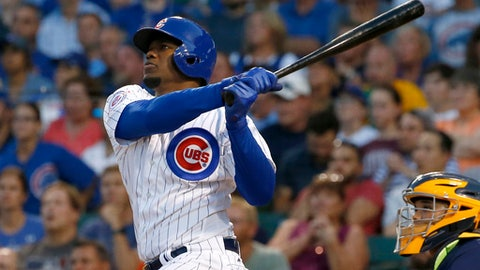 FILE - In this Aug. 17, 2016, file photo, Chicago Cubs' Jorge Soler watches his three-run home run during the first inning of a baseball game against the Milwaukee Brewers in Chicago. The Royals traded All-Star closer Wade Davis to the Chicago Cubs for outfielder Jorge Soler, their biggest move of the offseason. (AP Photo/Nam Y. Huh, File)