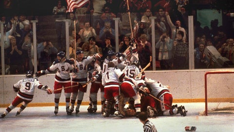 """FILE - In this Feb. 22, 1980, file photo, the U.S. hockey team pounces on goalie Jim Craig after a 4-3 victory against the Soviets in the 1980 Olympics in Lake Placid, N.Y. If the NHL doesn't send its players to the 2018 Winter Olympics, the hockey tournament in Pyeongchang will look a lot like the ones in Lillehammer in 1994, Albertville in 1992 and Calgary in 1988. Maybe even a little like 1980 in Lake Placid, site of the """"Miracle On Ice."""" (AP Photo, File)"""