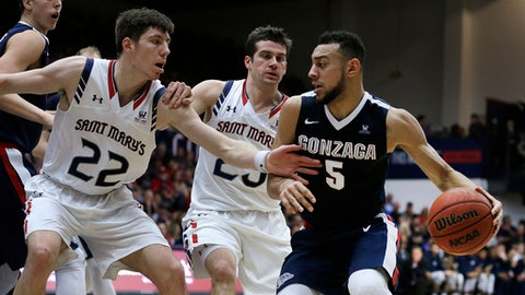 Gonzaga's Nigel Williams-Goss, right, drives the ball against Saint Mary's Dane Pineau (22) and Joe Rahon, center, during the first half of an NCAA college basketball game Saturday, Feb. 11, 2017, in Moraga, Calif. (AP Photo/Ben Margot)