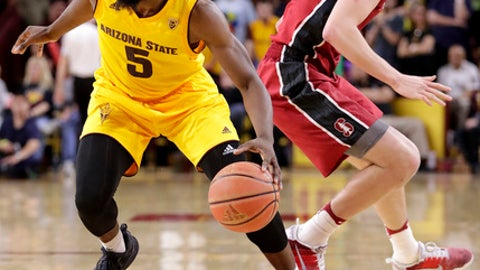Arizona State forward Obinna Oleka (5) drives past Stanford forward Michael Humphrey during the second half of an NCAA college basketball game, Saturday, Feb. 11, 2017, in Tempe, Ariz. (AP Photo/Matt York)