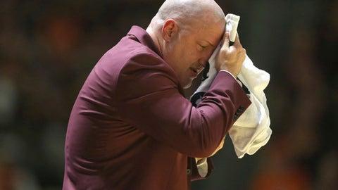 Virginia Tech head coach Buzz Williams in the first half of an NCAA college basketball game against Virginia in Blacksburg, Va., Sunday, Feb. 12, 2017. (Matt Gentry/The Roanoke Times via AP)