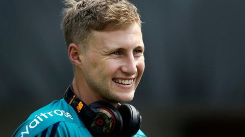 FILE - This is a Saturday, April 2, 2016  file photo of  England's Joe Root as he arrives for a practice session a day ahead of their final match of the ICC World Twenty20 2016 cricket against West Indies, in Kolkata, India. Joe Root was been appointed England test cricket captain on Monday Feb. 13, 2017. The 26-year-old Root replaces Alastair Cook, who resigned last week after  a record 59 tests in charge. (AP Photo/Saurabh Das, File)