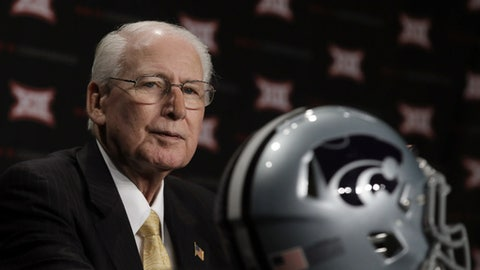 FILE - In this July 19, 2016, file photo, Kansas State head coach Bill Snyder listens to a question during the Big 12 college football media days in Dallas. Hall of Fame coach Bill Snyder has been diagnosed with throat cancer, though treatments are going well and he says in a statement that he expects to be on the field for spring practice in March. The 77-year-old Snyder addressed his health in a statement Monday, Feb. 13, 2017, after rumors began circling that he was seeking treatment for an undisclosed illness. (AP Photo/LM Otero, File)