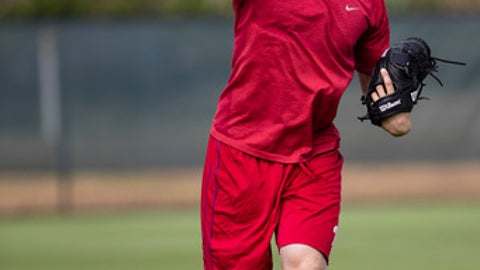 Philadelphia Phillies pitcher Aaron Nola throws during a spring training baseball workout Monday, Feb. 13, 2017, in Clearwater, Fla. (AP Photo/Matt Rourke)