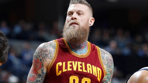 MEMPHIS, TN - DECEMBER 14: Chris Andersen #00 of the Cleveland Cavaliers looks on against the Memphis Grizzlies during the game at FedExForum on December 14, 2016 in Memphis, Tennessee. Memphis defeated Cleveland 93-85. NOTE TO USER: User expressly acknowledges and agrees that, by downloading and or using the photograph, User is consenting to the terms and conditions of the Getty Images License Agreement. (Photo by Joe Robbins/Getty Images)