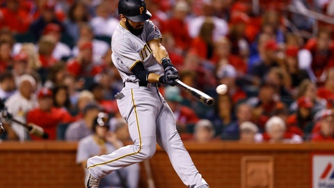 Pittsburgh Pirates' Sean Rodriguez batting during a baseball game against the St. Louis Cardinals, Friday, Sept. 30, 2016, in St. Louis. (AP Photo/Billy Hurst)