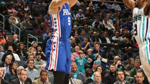 CHARLOTTE, NC - FEBRUARY 13:Dario Saric #9 of the Philadelphia 76ers shoots the ball against the Charlotte Hornets  on February 13, 2017 at the Spectrum Center in Charlotte, North Carolina. NOTE TO USER: User expressly acknowledges and agrees that, by downloading and or using this photograph, User is consenting to the terms and conditions of the Getty Images License Agreement.  Mandatory Copyright Notice:  Copyright 2017 NBAE (Photo by Kent Smith/NBAE via Getty Images)