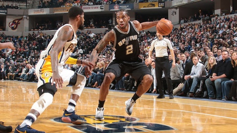 INDIANAPOLIS, IN - FEBRUARY 13: Kawhi Leonard #2 of the San Antonio Spurs handles the ball against the Indiana Pacers on February 13, 2017 at Bankers Life Fieldhouse in Indianapolis, Indiana. NOTE TO USER: User expressly acknowledges and agrees that, by downloading and or using this Photograph, user is consenting to the terms and conditions of the Getty Images License Agreement. Mandatory Copyright Notice: Copyright 2017 NBAE (Photo by Ron Hoskins/NBAE via Getty Images)