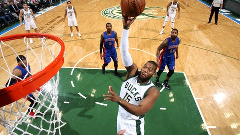 Milwaukee, WI - FEBRUARY 13: Greg Monroe #15 of the Milwaukee Bucks shoots the ball during the game against the Detroit Pistons on February 13, 2017 at the BMO Harris Bradley Center in Milwaukee, Wisconsin. NOTE TO USER: User expressly acknowledges and agrees that, by downloading and or using this Photograph, user is consenting to the terms and conditions of the Getty Images License Agreement. Mandatory Copyright Notice: Copyright 2017 NBAE (Photo by Gary Dineen/NBAE via Getty Images)