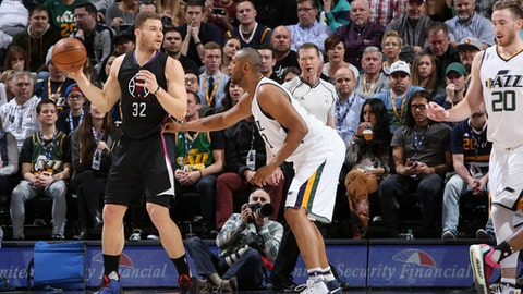 SALT LAKE CITY, UT - FEBRUARY 13:  Blake Griffin #32 of the Los Angeles Clippers handles the ball against the Utah Jazz on February 13, 2017 at vivint.SmartHome Arena in Salt Lake City, Utah. NOTE TO USER: User expressly acknowledges and agrees that, by downloading and or using this Photograph, User is consenting to the terms and conditions of the Getty Images License Agreement. Mandatory Copyright Notice: Copyright 2017 NBAE (Photo by Melissa Majchrzak/NBAE via Getty Images)