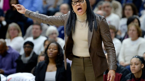 South Carolina head coach Dawn Staley calls out to her team in the first half of an NCAA college basketball game against Connecticut, Monday, Feb. 13, 2017, in Storrs, Conn. (AP Photo/Jessica Hill)