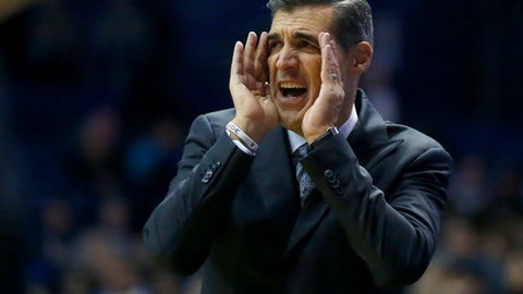 Villanova head coach Jay Wright directs his team during the second half of an NCAA college basketball game against DePaul Monday, Feb. 13, 2017, in Rosemont, Ill. Villanova won 75-62. (AP Photo/Charles Rex Arbogast)
