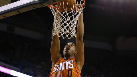 NEW ORLEANS, LA - FEBRUARY 06: Marquese Chriss #0 of the Phoenix Suns dunks the ball during the first half of a game against the New Orleans Pelicans at the Smoothie King Center on February 6, 2017 in New Orleans, Louisiana. NOTE TO USER: User expressly acknowledges and agrees that, by downloading and or using this photograph, User is consenting to the terms and conditions of the Getty Images License Agreement.  (Photo by Jonathan Bachman/Getty Images)