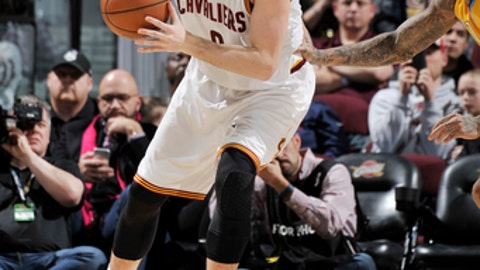 CLEVELAND, OH - FEBRUARY 11: Kevin Love #0 of the Cleveland Cavaliers handles the ball against the Denver Nuggets on February 11, 2017 at Quicken Loans Arena in Cleveland, Ohio.  NOTE TO USER: User expressly acknowledges and agrees that, by downloading and or using this Photograph, user is consenting to the terms and conditions of the Getty Images License Agreement. Mandatory Copyright Notice: Copyright 2017 NBAE (Photo by David Liam Kyle/NBAE via Getty Images)