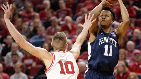 Penn State's Lamar Stevens (11) shoots over Nebraska's Jack McVeigh (10) during the first half of an NCAA college basketball game in Lincoln, Neb., Tuesday, Feb. 14, 2017. (AP Photo/Nati Harnik)