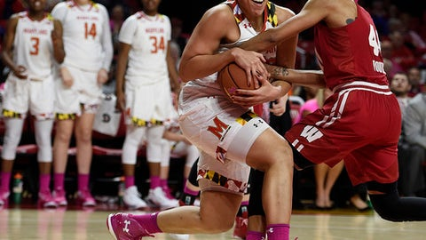 Maryland's Brionna Jones, left, and Wisconsin's Avyanna Young struggle for a rebound during the second half of an NCAA college basketball game, Wednesday, Feb. 15, 2017, in College Park, Md. Maryland won 89-40. (AP Photo/Gail Burton)