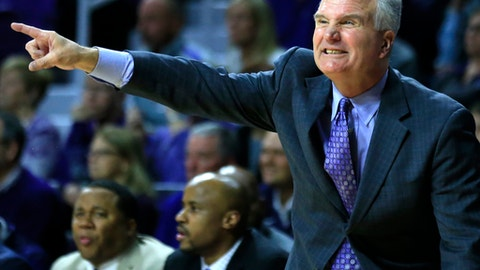 Kansas State head coach Bruce Weber directs his team during the second half of an NCAA college basketball game against Iowa State in Manhattan, Kan., Wednesday, Feb. 15, 2017. (AP Photo/Orlin Wagner)