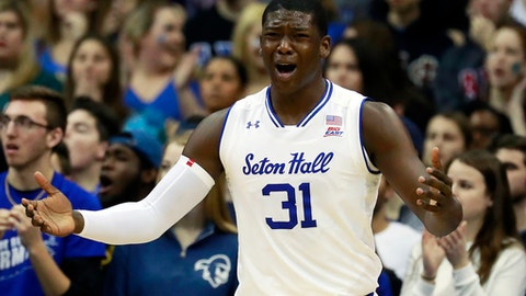 Seton Hall forward Angel Delgado reacts after an official's call during the first half of an NCAA college basketball game against Creighton, Wednesday, Feb. 15, 2017, in Newark, N.J. (AP Photo/Julio Cortez)
