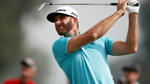 Dustin Johnson tees off on the 16th hole during the first round of the Genesis Open golf tournament at Riviera Country Club Thursday, Feb. 16, 2017, in the Pacific Palisades area of Los Angeles. (AP Photo/Ryan Kang)