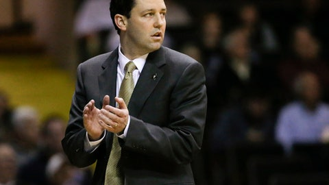 Vanderbilt head coach Bryce Drew watches the action in the first half of an NCAA college basketball game against Texas A&M Thursday, Feb. 16, 2017, in Nashville, Tenn. (AP Photo/Mark Humphrey)