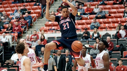 Arizona center Chance Comanche (21) hangs from the rim after a dunk against Washington State in the first half of an NCAA college basketball game, Thursday, Feb. 16, 2017, in Pullman, Wash. (AP Photo/Kai Eiselein)