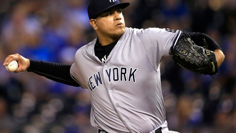 FILE - In this Aug. 31, 2016, file photo, New York Yankees relief pitcher Dellin Betances delivers to a Kansas City Royals batter during the 13th inning of a baseball game at Kauffman Stadium in Kansas City, Mo. Betances and the Yankees have argued the year's final salary arbitration case, the first for the team in nearly a decade. Eligible for arbitration for the first time, Betances asked for $5 million. The Yankees argued during Friday's, Feb. 17, 2017,  hearing he should be paid $3 million.(AP Photo/Orlin Wagner, File)
