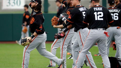 San Francisco Giants players warm up during spring training baseball workouts, Friday, Feb. 17, 2017, in Scottsdale, Ariz. (AP Photo/Matt York)