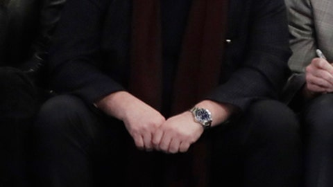 Madison Square Garden Executive Chairman James Dolan reacts to an altercation between the Charles Oakley and security guards during the first half of an NBA basketball game between the New York Knicks and the LA Clippers, Wednesday, Feb. 8, 2017, in New York. (AP Photo/Frank Franklin II)