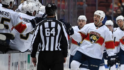 Florida Panthers left wing Shawn Thornton, right, celebrates after assisting Colton Sceviour on a goal during the second period of an NHL hockey game against the Anaheim Ducks, Friday, Feb. 17, 2017, in Anaheim, Calif. (AP Photo/Mark J. Terrill)