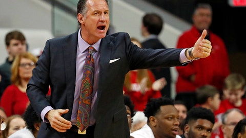 North Carolina State head coach Mark Gottfried coaches from the sidelines during the first half of an NCAA college basketball game against Notre Dame in Raleigh, N.C., Saturday, Feb. 18, 2017. (AP Photo/Karl B DeBlaker)
