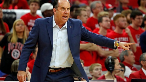 Notre Dame head coach Mike Brey coaches from the sidelines during the first half of an NCAA college basketball game against North Carolina State in Raleigh, N.C., Saturday, Feb. 18, 2017. (AP Photo/Karl B DeBlaker)