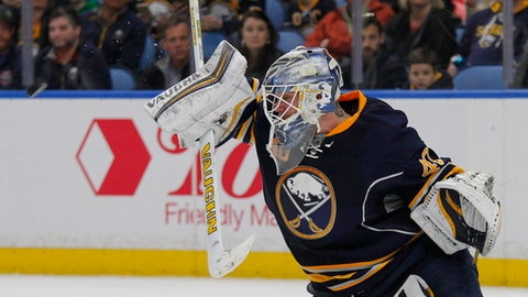 Buffalo Sabres goalie Robin Lehner makes a blocker save during the second period of an NHL hockey game against the St. Louis Blues, Saturday, Feb. 18, 2017, in Buffalo, N.Y. (AP Photo/Jeffrey T. Barnes)
