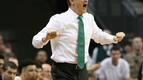 Oregon head coach Dana Altman yells to his team during the first half of their NCAA college basketball game against Colorado, Saturday, Feb. 18, 2017, in Eugene, Ore. (AP Photo/Chris Pietsch)