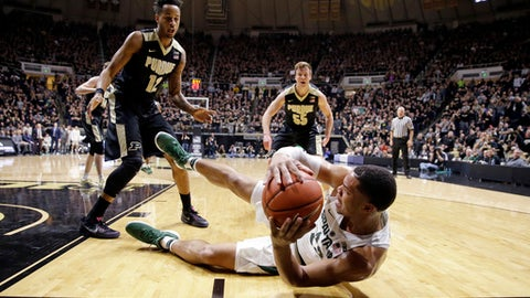Michigan State guard Miles Bridges (22) attempts to save a loose ball in from tot Purdue forward Vince Edwards (12) and guard Spike Albrecht (55) in the first half of an NCAA college basketball game in West Lafayette, Ind., Saturday, Feb. 18, 2017. (AP Photo/Michael Conroy)