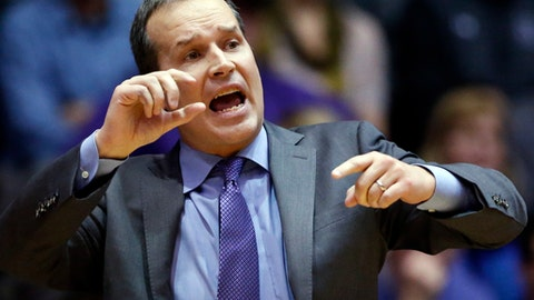 Northwestern head coach Chris Collins directs his team during the second half of an NCAA college basketball game against Rutgers Saturday, Feb. 18, 2017, in Evanston, Ill. Northwestern won 69-65. (AP Photo/Nam Y. Huh)