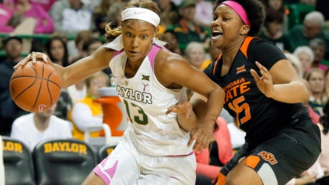 Baylor forward Nina Davis (13) drives to the basket passed Oklahoma State's Rodrea Echols (15) in the second half of an NCAA college basketball game, Saturday, Feb. 18, 2017, in Waco, Texas. (AP Photo/Tony Gutierrez)