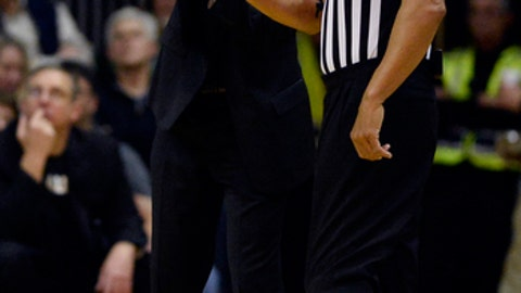 Vanderbilt head coach Bryce Drew talks with an official in the first half of an NCAA college basketball game against South Carolina, Saturday, Feb. 18, 2017, in Nashville, Tenn. (AP Photo/Mark Zaleski)