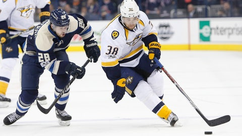 Nashville Predators' Viktor Arvidsson, right, of Sweden, carries the puck across the blur line as Columbus Blue Jackets' Oliver Bjorkstrand, of Denmark, defends during the third period of an NHL hockey game Sunday, Feb. 19, 2017, in Columbus, Ohio. The Predators beat the Blue Jackets 4-3. (AP Photo/Jay LaPrete)