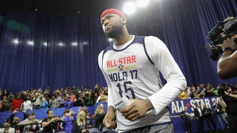 NEW ORLEANS, LA - FEBRUARY 18:  DeMarcus Cousins #15 of the Sacramento Kings attends practice for the 2017 NBA All-Star Game at the Mercedes-Benz Superdome on February 18, 2017 in New Orleans, Louisiana.  (Photo by Ronald Martinez/Getty Images)