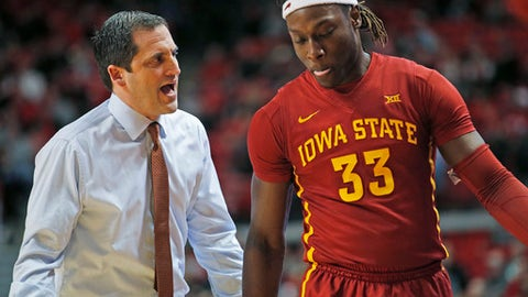 Iowa State coach Steve Prohm yells at Solomon Young (33) during an NCAA college basketball game against Texas Tech in Lubbock, Texas, Monday, Feb. 20, 2017. (Brad Tollefson/Lubbock Avalanche-Journal via AP)