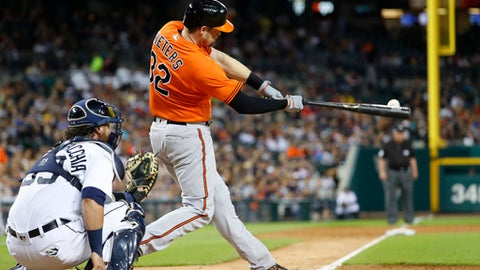 In this photo taken Sept. 10, 2016 file photo, Baltimore Orioles catcher Matt Wieters bats against the Detroit Tigers in the third inning in Detroit. Two people familiar with the deal say that free-agent catcher Matt Wieters has agreed to a contract with the Washington Nationals, pending a physical. (AP Photo/Paul Sancya, File)