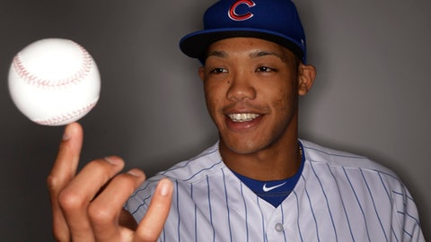 Chicago Cubs' Addison Russell spis a ball on his finger during the team's photo day Tuesday, Feb. 21, 2017, in Mesa, Ariz. (AP Photo/Morry Gash)