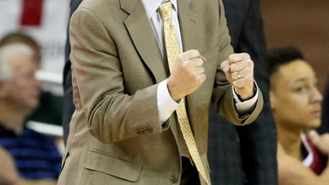 Oklahoma head coach Lon Kruger instructs his team in the first half of an NCAA college basketball game against Baylor on Tuesday, Feb. 21, 2017, in Waco, Texas. (AP Photo/Tony Gutierrez)