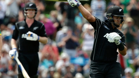 New Zealand's Ross Taylor celebrates scoring a century during their one day cricket international against South Africa at Hagley Oval, Christchurch, New Zealand, Wednesday, Feb. 22, 2017. (AP Photo/Mark Baker)