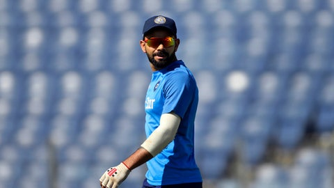 India's captain Virat Kohli looks at his team members during practice session ahead of their first cricket test match against Australia in Pune, India, Wednesday, Feb. 22, 2017. (AP Photo/Rajanish Kakade)